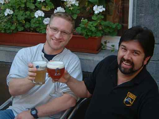 Marc and I having a beer in Leuven, Belgium